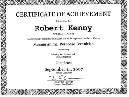 Missing Animal Response Technician Certificate